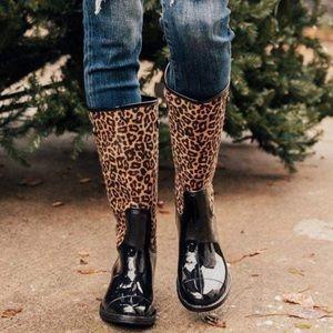 """""""Cats Meow"""" Tall Leopard Print Rain Boot"""